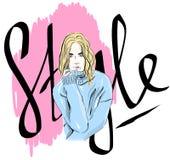 Vector das schöne Modemädchen, das in einer Strickjacke, Farbskizze, Modeillustration, Plakat, Fahne, Broschüre, Grußkarte geklei Lizenzfreie Abbildung