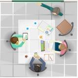 Vector das Treffen einer Gruppe Geschäftsleute bei der Arbeit lizenzfreie abbildung