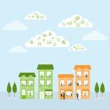 Vector das Wolkengeschäfts-Teamarbeiten wettbewerbsfähig mit Geschäft Stockbilder