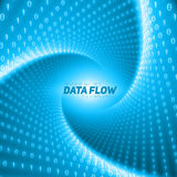 Vector data flow visualization. Blue flow of big data as binary numbers strings twisted in tunnel. Stock Photo