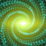 Vector data flow visualization. Green big data flow as binary numbers strings twisted in infinity tunnel. Stock Photo