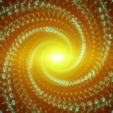 Vector data flow visualization. Green big data flow as binary numbers strings twisted in infinity tunnel. Information code stream representation. Cryptographic Royalty Free Stock Photos