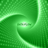 Vector data flow visualization. Green flow of big data as binary numbers strings twisted in tunnel. Stock Photo