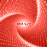 Vector data flow visualization. Red flow of big data as binary numbers strings twisted in tunnel. Royalty Free Stock Image