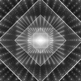 Vector data flow visualization. Square glowing tunnel of grayscale big data flow as binary strings. Cyber world of code Stock Photography