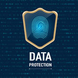Vector : Data Protection concept, Gold sheild protect a finger p. Rint (privacy data) on navy blue background Royalty Free Stock Photos