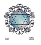Vector David star with space background and mandala frame. Royalty Free Stock Photography