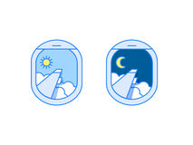 Vector day and night airplane window views Royalty Free Stock Images