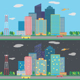 Vector day and night city. With cars Stock Images
