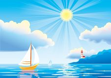 Vector day seascape with sailboat and lighthouse Royalty Free Stock Photo