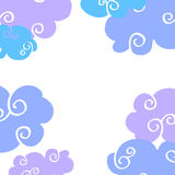 Vector daytime cartoon clouds frame royalty free illustration