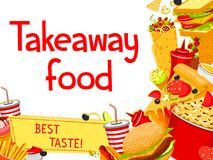 Vector de afficheontwerp van het snel voedsel meeneemmenu Royalty-vrije Stock Fotografie