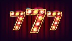 Vector de 777 banderas Elemento que brilla intensamente del casino 3D Para la lotería, póker, diseño de la ruleta Ejemplo del jue Foto de archivo