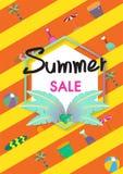 Vector de bannermalplaatje van de de zomerverkoop met de illustratie van de zomertoebehoren Stock Afbeeldingen