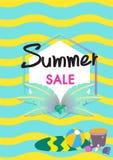 Vector de bannermalplaatje van de de zomerverkoop met de illustratie van de zomertoebehoren Royalty-vrije Stock Afbeelding