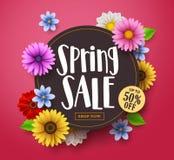 Vector de bannerontwerp van de de lenteverkoop met verkooptekst, kleurrijk madeliefje stock illustratie