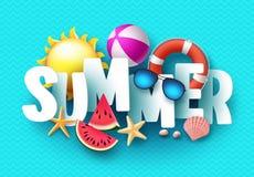Vector de bannerontwerp van de de zomer 3d tekst met witte titel en kleurrijke tropische strandelementen royalty-vrije illustratie