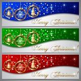 Vector de Bannerreeks van de Kerstmisgroet Stock Afbeeldingen
