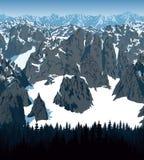 Vector de bergen bos van Achtergrond Nepal textuur naadloos patroon Stock Afbeelding