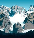 Vector de bergen bos van Achtergrond Pakistan textuur naadloos patroon Royalty-vrije Stock Afbeelding