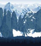 Vector de bergen van Achtergrond karakoram of Karakorum-textuur naadloos patroon Stock Afbeeldingen