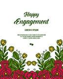 Vector de bloemkader van de illustratiebloesem met kaart gelukkige overeenkomst royalty-vrije illustratie