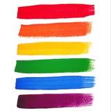 Vector de borstelslagen van de regenboogwaterverf Royalty-vrije Stock Foto