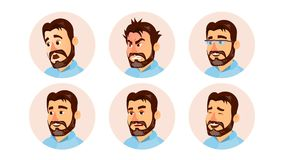 Vector de Boss Character Business People Avatar Oficina moderna Boss barbudo Man Face, emociones fijadas Avatar creativo libre illustration