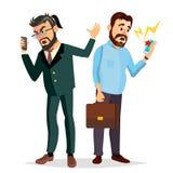 Vector de Boss Shouting On Phone Gritando, problema, concepto de la pelea Boss In Action El hablar el uno al otro ambiente Fotos de archivo libres de regalías