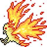 Vector de brandvogel van de pixelkunst Stock Afbeeldingen