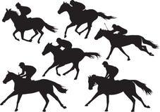 Vector de caballos que compiten con con los jinetes Foto de archivo libre de regalías