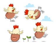 Vector de cacareo de la granja del huevo del pollo Fotos de archivo