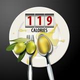 Vector de calorías en un aceite de oliva de la cuchara de sopa Imagen de archivo libre de regalías