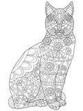 Vector de Cat Coloring para los adultos Imágenes de archivo libres de regalías