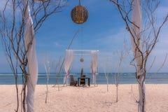 Vector de cena romántico en la playa Foto de archivo