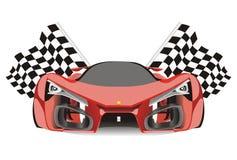 Vector de competir con banderas detrás del coche de Ferrari f80