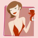 Vector de consumición del vino de la mujer stock de ilustración