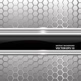 Vector de cristal negro abstracto de la malla del hexágono de la plata de la etiqueta Imagen de archivo