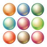 Vector de cristal redondo de la esfera Esferas multicoloras opacas determinadas con resplandores, sombras Ejemplo realista aislad Foto de archivo