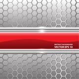 Vector de cristal rojo abstracto de la malla del hexágono de la plata de la etiqueta Imágenes de archivo libres de regalías