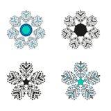 Vector de cuatro diversos copos de nieve fijados Concepto de la Navidad del invierno Tema del Año Nuevo libre illustration
