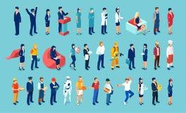 Vector de diversa gente del cuello azul y de profesiones no manuales libre illustration