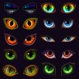 Vector de duivelsoogappels van beeldverhaalogen van dier of monster en dieren enge uitdrukkingen met kwade wenkbrauw en wimpers vector illustratie