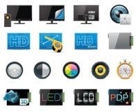 Vector de eigenschappen en de specificatiespictogramreeks van TV Stock Afbeelding