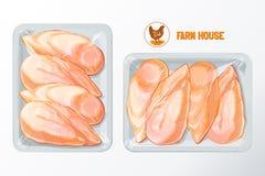 Vector de empaquetado del poliestireno de la pechuga de pollo ilustración del vector