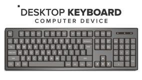 Vector de escritorio del teclado maqueta clásica realista del teclado de ordenador 3D Aislado en el ejemplo blanco stock de ilustración