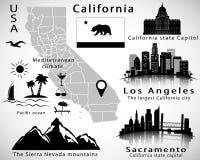 Vector de estado de California fijado: horizontes de la ciudad, iconos, mapa, bandera Foto de archivo libre de regalías