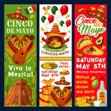 Vector de fiestauitnodiging van Cinco de Mayo Mexican