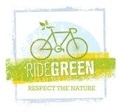 Vector de Fietsillustratie van rit Groene Creatieve Eco op Gerecycleerde Document Achtergrond royalty-vrije illustratie