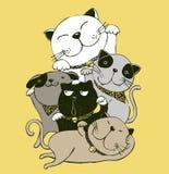Vector de gatos gordos felices Fije los caracteres Gato lindo stock de ilustración